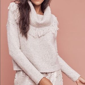 MOTH Fringed Cowl Neck Sweater Anthropologie